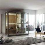 Komplettsauna Logica mit Duschzone | Halbecke rechts mit Duschzone rechts