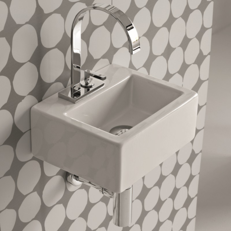Hidra Ceramica Rechteckiges Mini Handwaschbecken Mit Hahnloch
